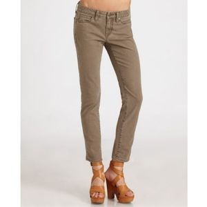 Vince Crop Skinny Ankle Jeans Brown Cocoa Wash